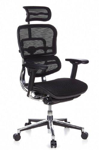 HJH Office 652111 Bürostuhl / Chefsessel Ergohuman Netz-Stoff, schwarz