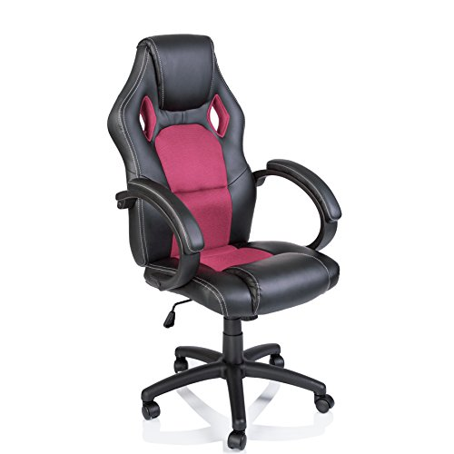 Racing Chefsessel Bürostuhl Drehstuhl 14 Farbvarianten, gepolsterte Armlehnen, Wippmechanik, Lift SGS geprüft (schwarz/pink)