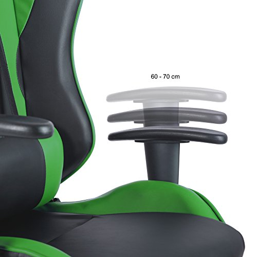 Racing Drehstuhl Gaming Stuhl in 6 Farbvarianten, Wippmechanik, stufenlos verstellbare Rückenlehne (Hellgrün)