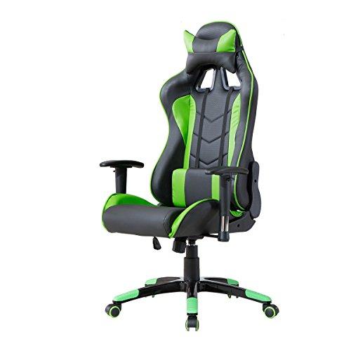 delman gaming stuhl ergonomische design schwarz gr n. Black Bedroom Furniture Sets. Home Design Ideas