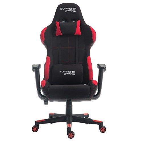 Relaxset schwarz rot mit Hocker Bürostuhl Racing Gaming Stuhl Chefsessel Set