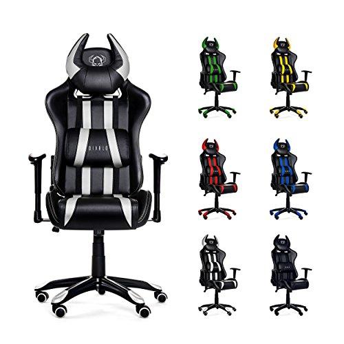 Diablo X-One Horn Gaming Stuhl Bürostuhl in Racing Optik, Kunstlederbezug, mit regulierbaren Armlehenen, Horn-Kissen, Farbwahl (weiß/schwarz)
