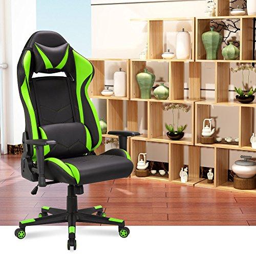 gaming stuhl chair schreibtischstuhl ergonomisch gamer b rostuhl pu leder kunstleder computer. Black Bedroom Furniture Sets. Home Design Ideas