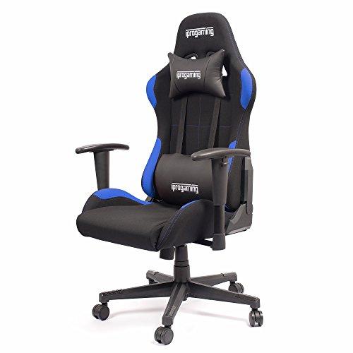 iprotect Gaming-Stuhl – Schreibtisch- und Bürostuhl für Gamer mit Stoffbezug in Schwarz-Blau