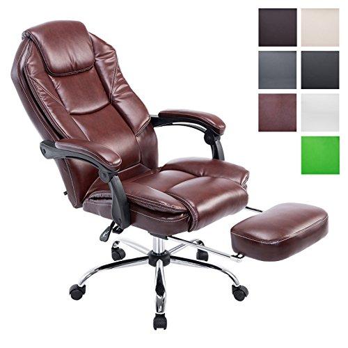 CLP Bürostuhl CASTLE mit Kunstlederbezug und hochwertiger Polsterung | Ergonomischer Bürosessel mit höhenverstellbarer Sitzhöhe | Drehstuhl mit ausziehbarer Fußablage und Rückenlehne | In verschiedenen Farben erhältlich Bordeauxrot