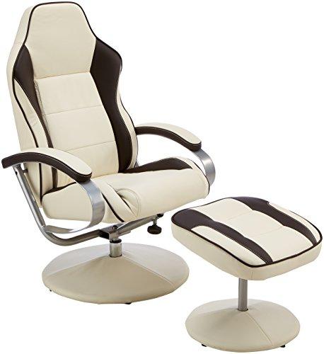 Amstyle Fernsehsessel Sporting TV Design Relax-Sessel verstellbar Racing Modern Bezug Kunstleder drehbar mit Hocker Racer X-XL 110 kg mit Armlehnen und Hocker Gaming Sessel ohne Motor creme/ braun
