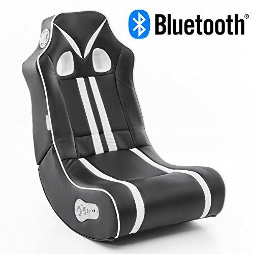 Wohnling Soundchair NINJA in Schwarz Weiß mit Bluetooth | Musiksessel mit eingebauten Lautsprechern | Multimediasessel für Gamer | 2.1 Soundsystem – Subwoofer | Music Gaming Sessel Rocker Chair
