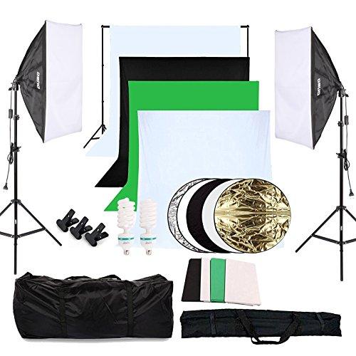 Fotostudio Set 4X Hintergrundstoff Softbox Studioleuchte Studiosets Hintergrund