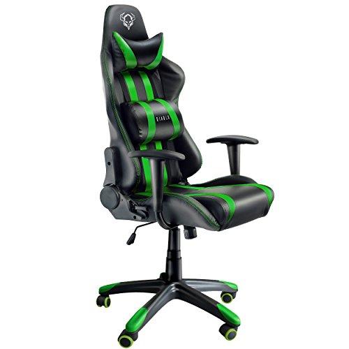 Diablo® X-One Gaming Stuhl Schreibtischstuhl Wippfunktion verstellbare Lenden/- Kopfkissen Kunstleder belastbar bis 150 kg (grün/schwarz)