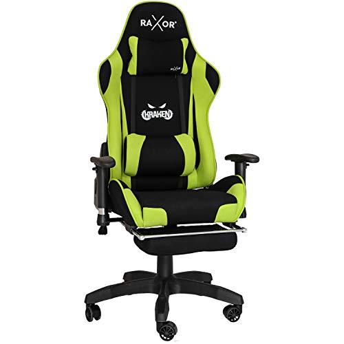 RAXOR Racing Hochwertiger Bürostuhl Gaming Stuhl,Ergonomischer höhenverstellbar Schreibtischstuhl Chefsessel Computerstuhl Drehstuhl mit einstellbaren Armlehnen, PU Sportsitz Racing Chair(Grün)