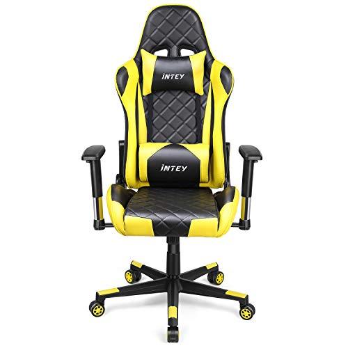 INTEY Gaming Stuhl, Computerstuhl Gaming Sessel ergonomisches Design, verstellbare Armlehnen und Wippfunktion, höhe Rückenlehne (Versand durch DHL)