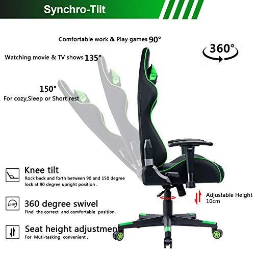 Umi. Essentials Gaming Stuhl Racing Stuhl Computerstuhl Chefsessel Höhenverstellbarer Schreibtischstuhl Ergonomisches Design mit Verstellbaren Armlehnen und Wippfunktion (Grün)