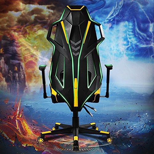Merax Gaming Racing Stuhl Sessel, schreibtischstuhl sportsitz Racing Stuhl mit Kunstlederbezug/Air Mesh/verstellbare Armlehnen& Rückenlehne/belastbar bis 140kg/TÜV geprüft/Gelb