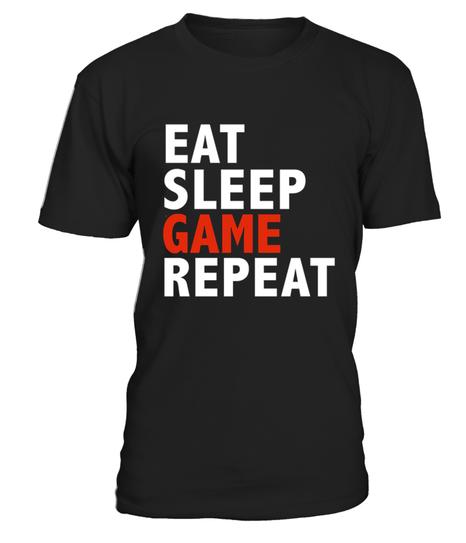 LUSTIGES EAT SLEEP GAME REPEAT SHIRT