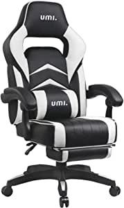 Umi. by Amazon – Gaming Stuhl Bürostuhl Schreibtischstuhl mit Armlehne Gamer Stuhl Drehstuhl Höhenverstellbarer Gaming Sessel PC Stuhl Ergonomisches Chefsessel mit Fußstützen Weiß